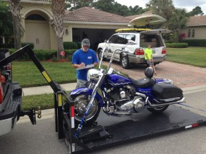 Protect your bike with our motorcycle transportation and towing services in Jupiter, Florida.
